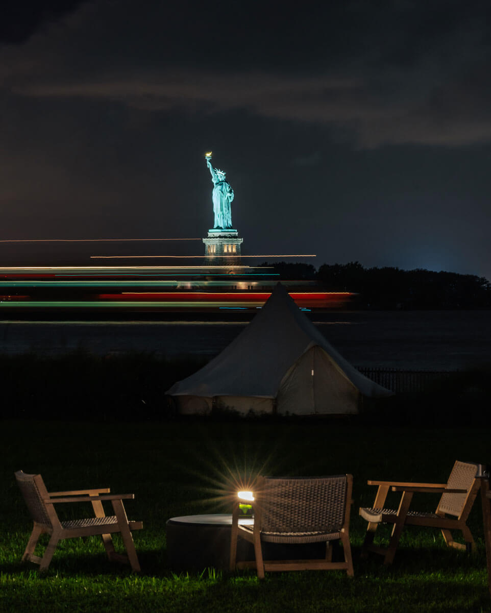 statue-of-liberty-view-from-the-fire-pits-at-Collective-Retreats-on-Governors-Island