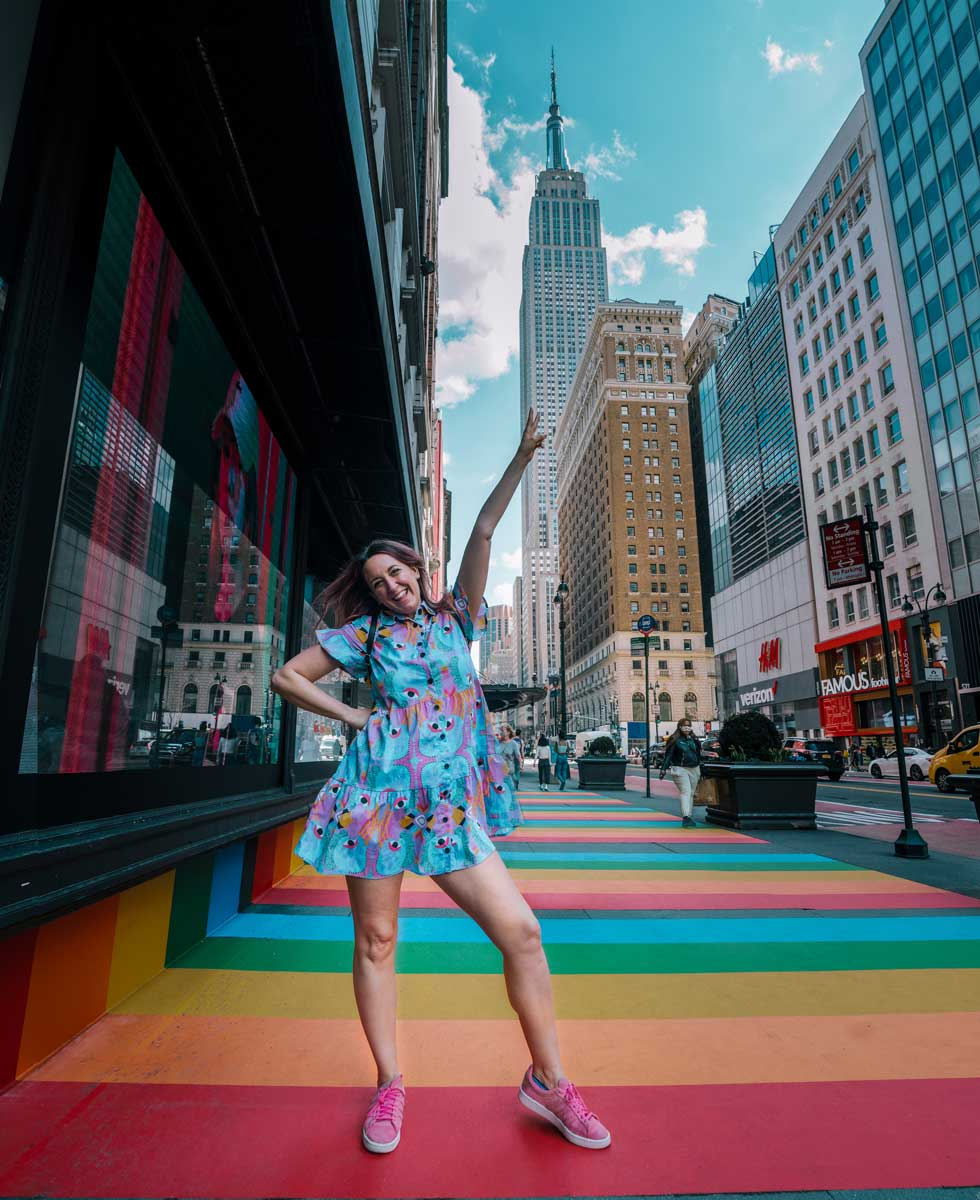 Empire-State-Building-view-from-Macys-with-their-special-rainbow-walkway-in-NYC