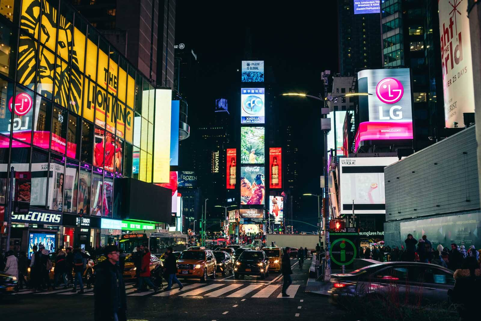 Hustle and bustle of Times Square at Night in NYC