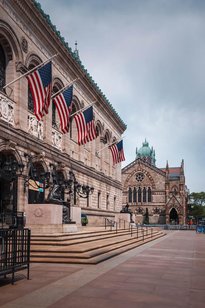 Boston Public Library in Copley Square in Boston Massachusetts