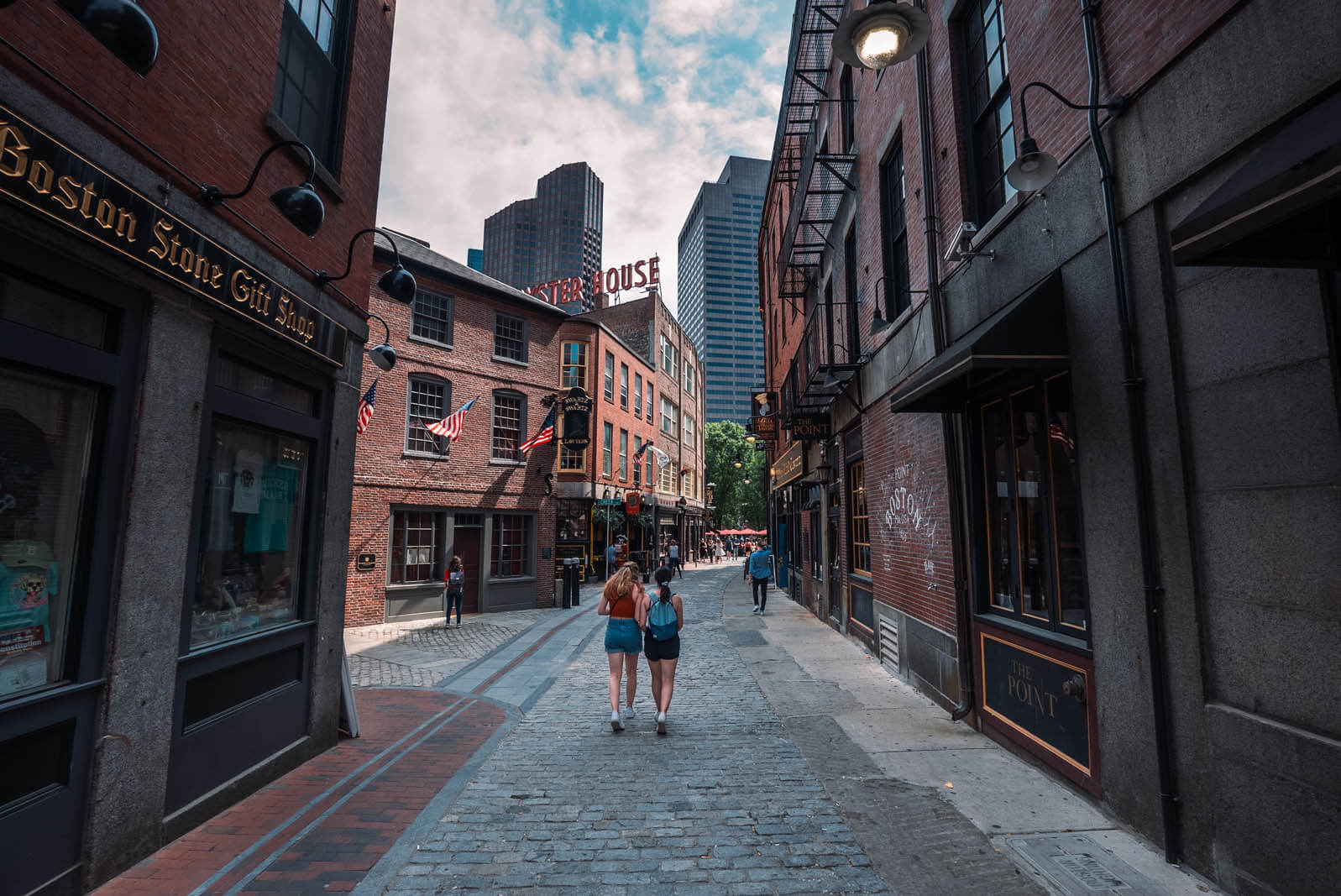 Historic alleyway where the old bars and taverns are in Bostons North End