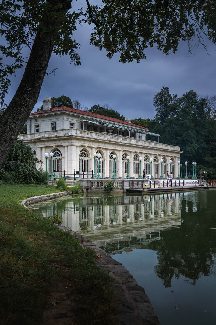 Prospect Park Boathouse in the summer in Brooklyn