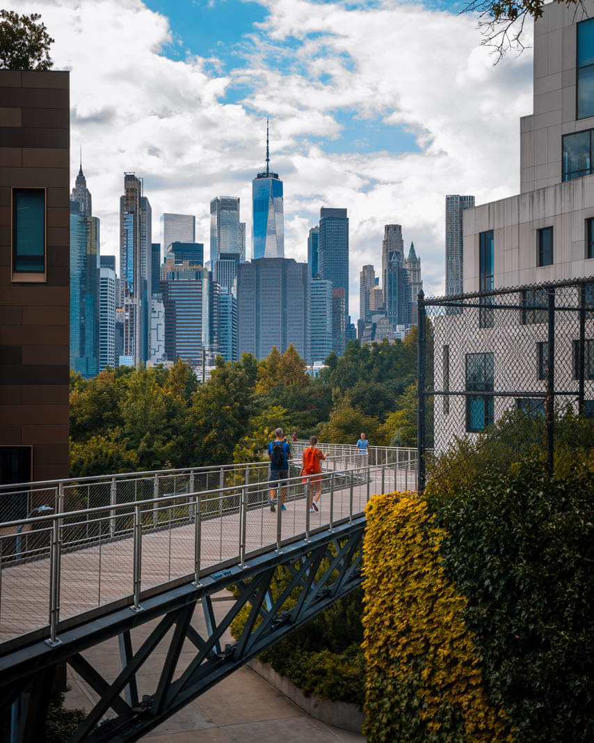 Squibb Park Bridge with a view of WTC in Brooklyn Heights Manhattan