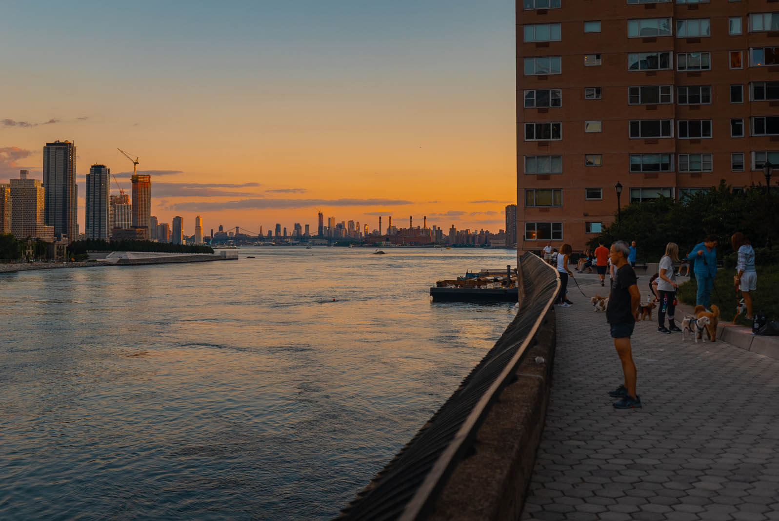 The waterfront East River view from Sutton Place Park in Manhattan