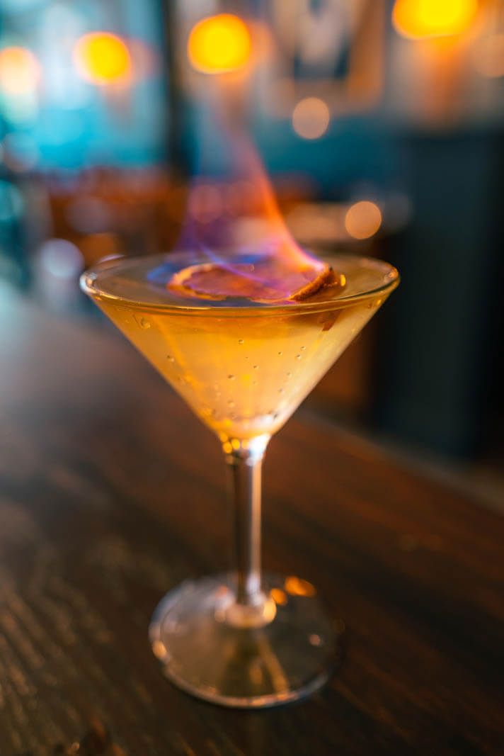 Willys 50 50 flaming cocktail at Philomenas in east williamsburg bar in brooklyn