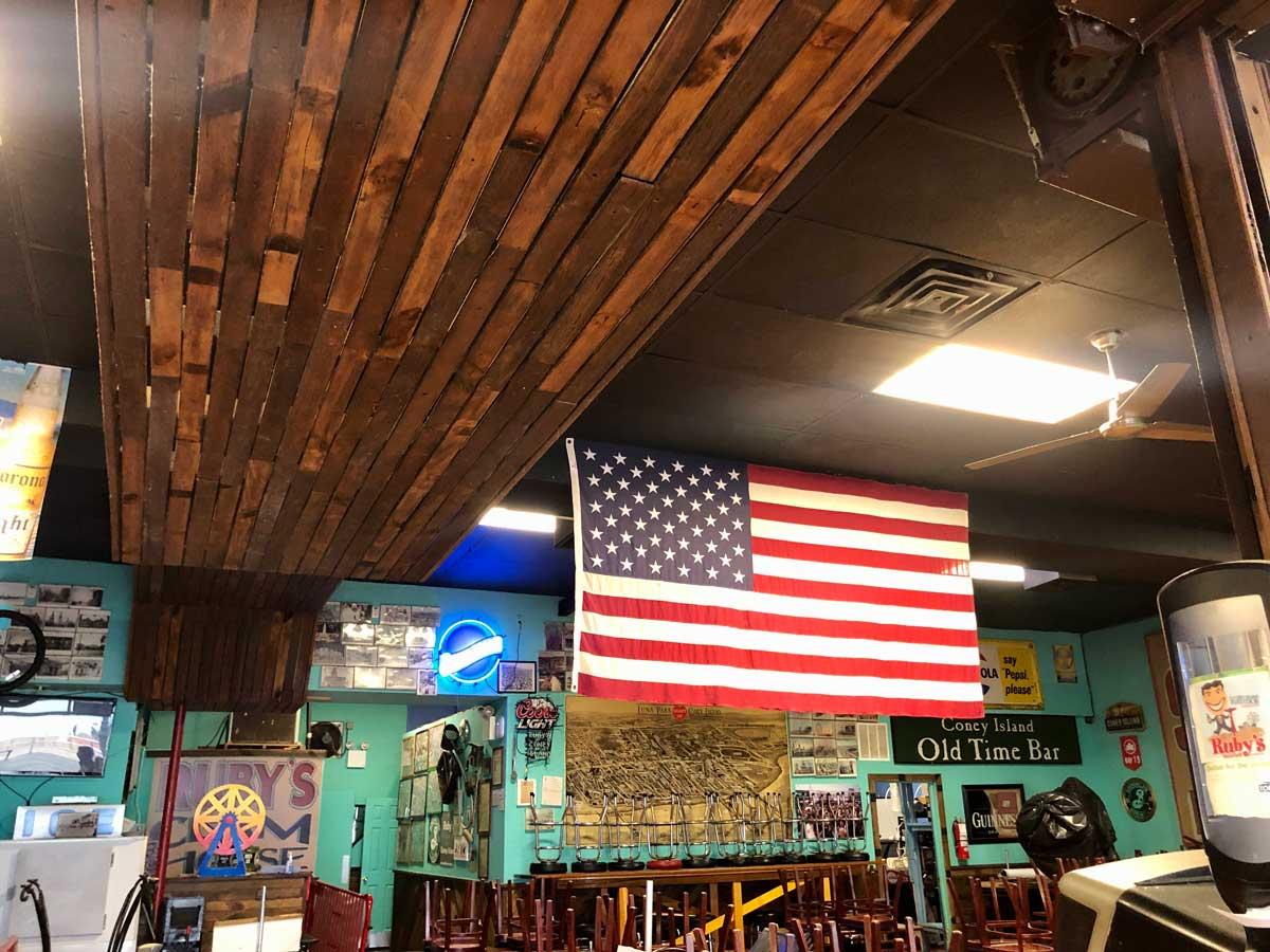 original-Coney-Island-boardwalk-planks-from-Riegelmann-Boardwalk-on-display-in-Rubys-Bar-and-Grill-in-Brooklyn