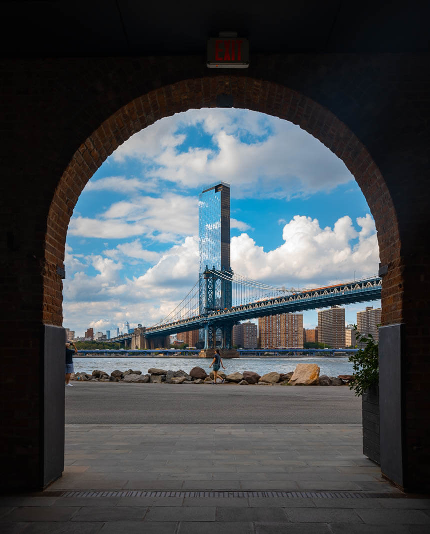 view of the Manhattan Bridge from Empire Stores in DUMBO Brooklyn