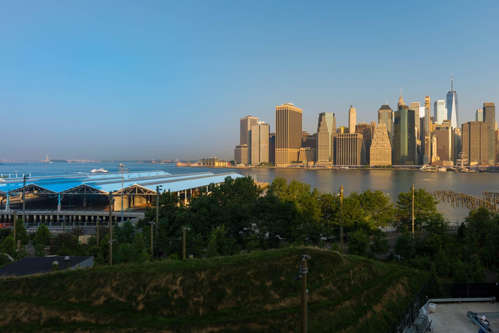 Brooklyn Bridge Park pier view along the East River from Brooklyn Heights Promenade