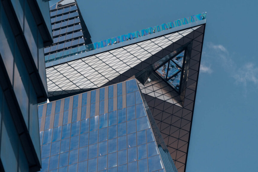 The Edge at Hudson Yards skydeck view from street level looking up in NYC