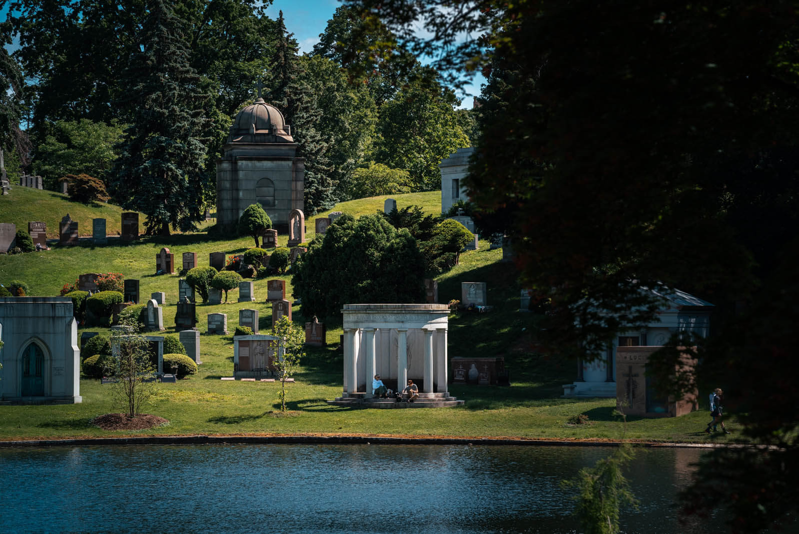 mausoleum along the lake at GreenWood Cemetery in Brooklyn