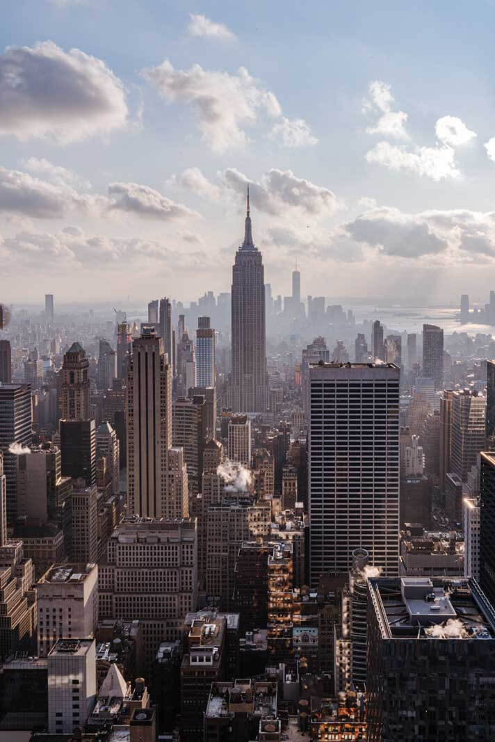 view of Empire State Building from Top of the Rock Observation Deck in NYC