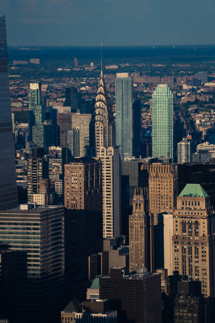 view of the Chrysler Building from the Edge skydeck in NYC