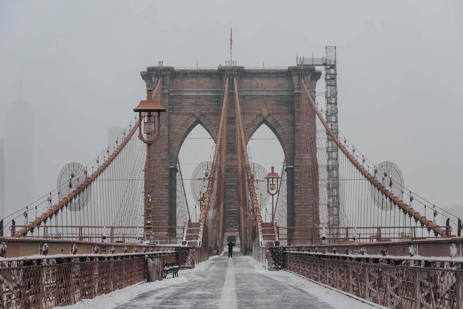 Brooklyn Bridge in the snow