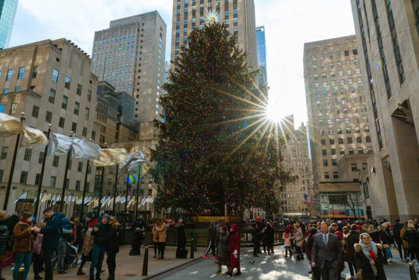 Rockefeller Plaza Christmas tree during the day